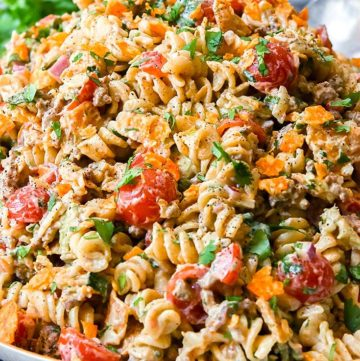 Taco Pasta Salad on a serving plate