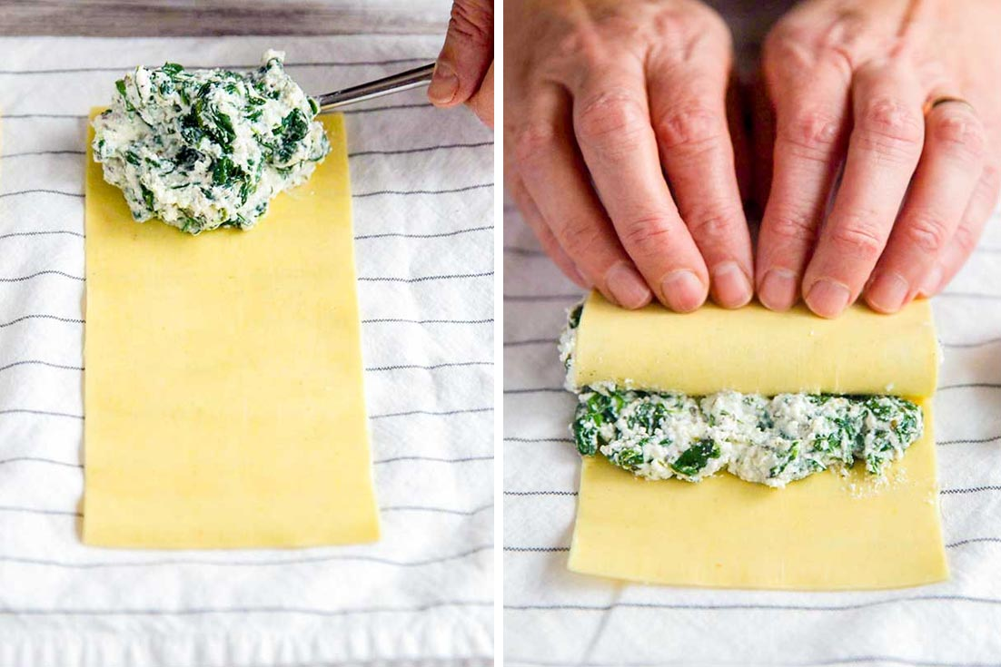Putting filling in cannelloni and rolling it