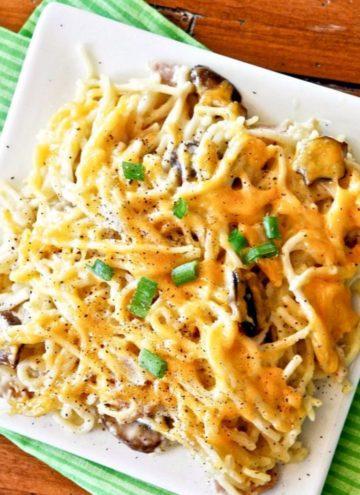 Chicken Noodle Casserole in a square plate