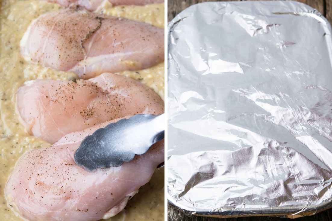 Step by step how to make No Peek Chicken