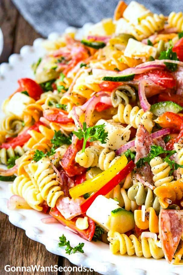 pasta salad on a serving plate