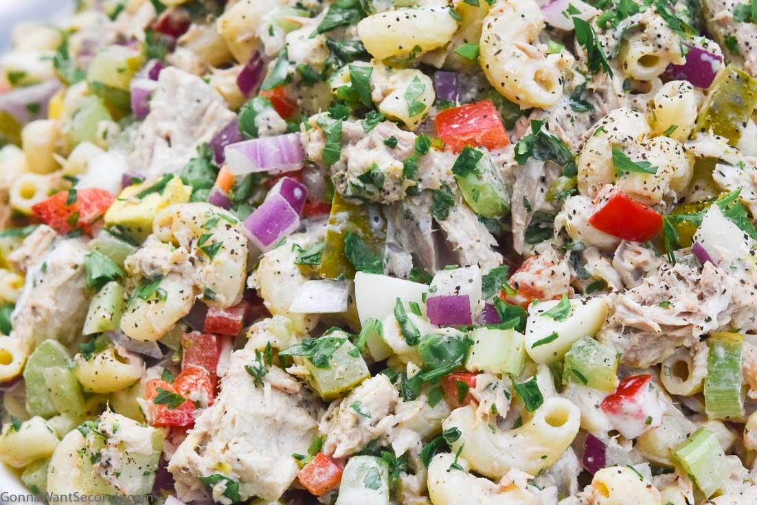 Tuna macaroni salad on a serving plate