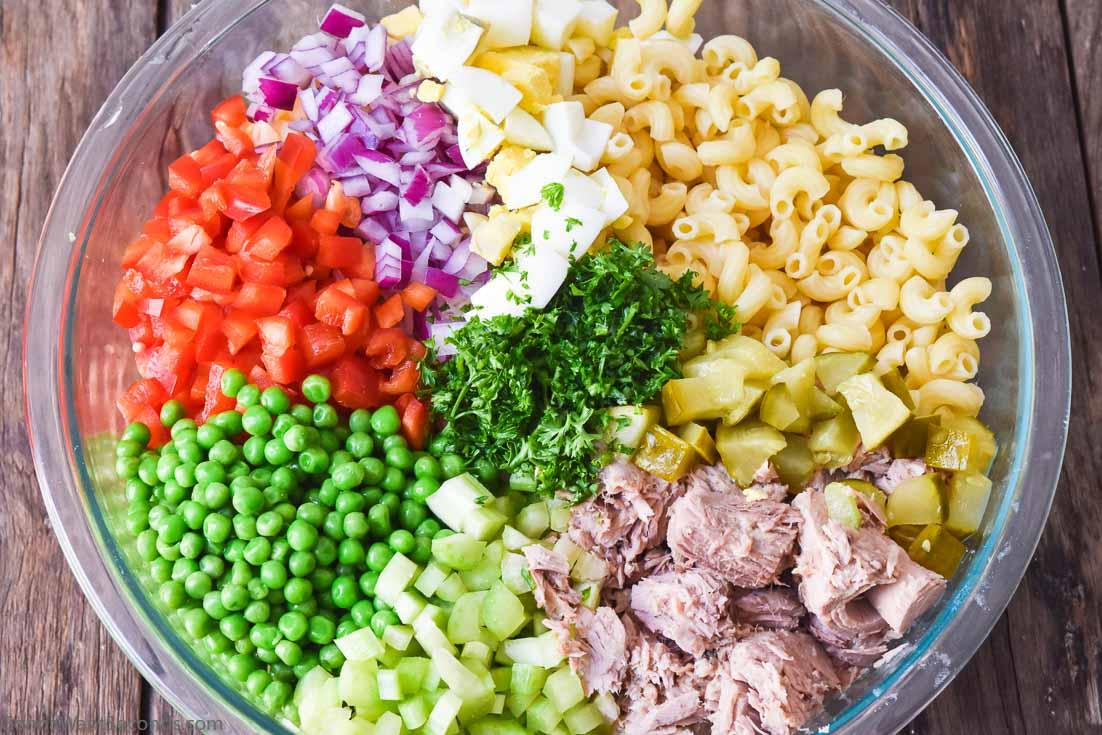 Tuna Macaroni Salad ingredients in a bowl