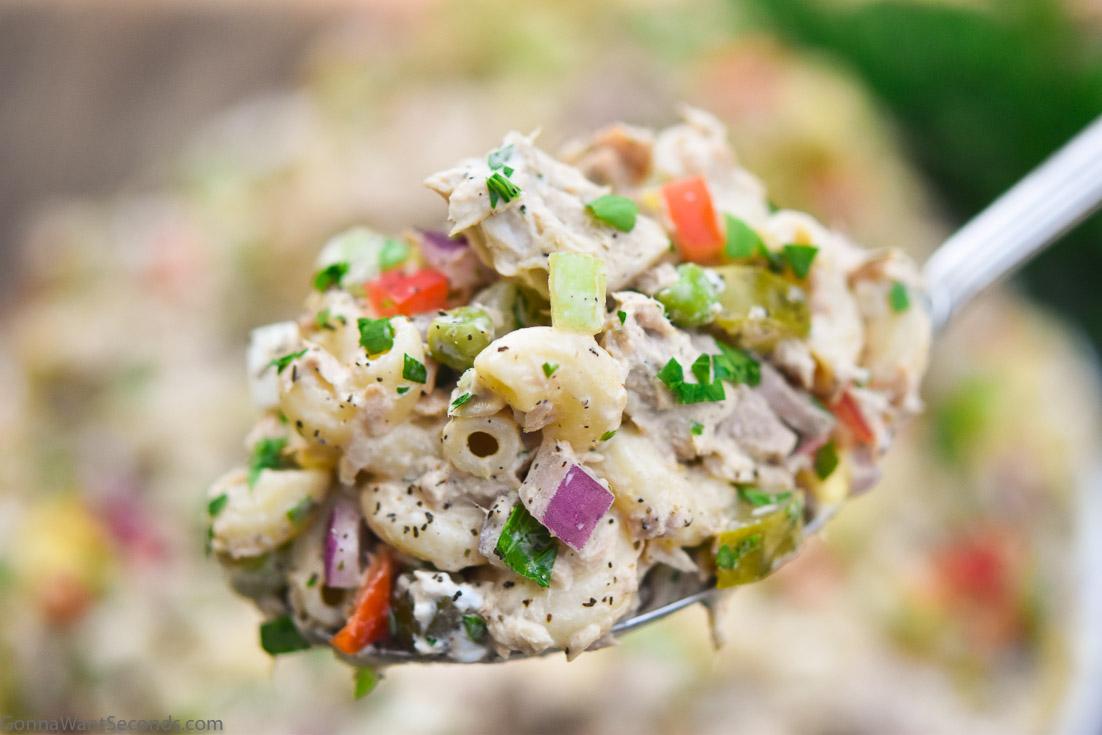 A spoonful of tuna macaroni salad