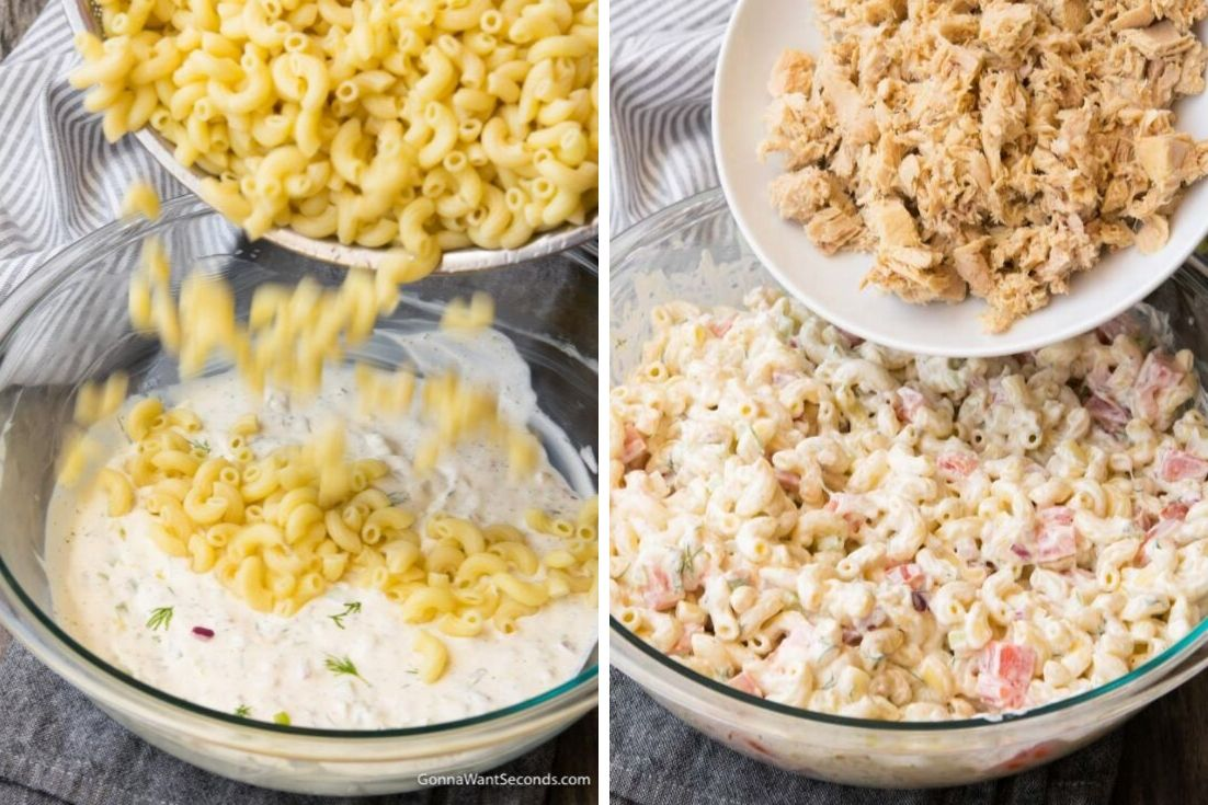 Easy Tuna Pasta Salad Thick Creamy Dressing And Loads Of