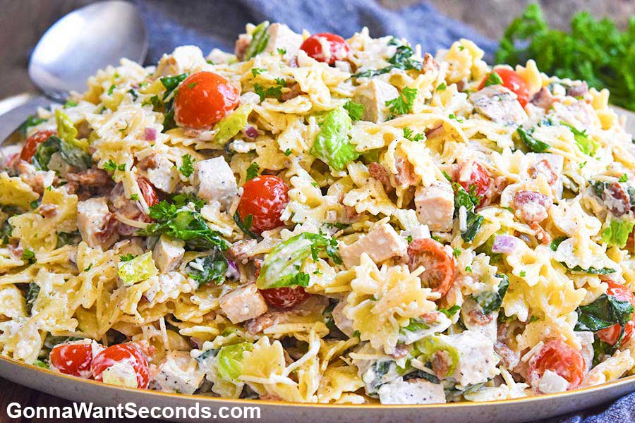 Pasta Salad Recipes: Caesar Pasta Salad on an oval serving plate