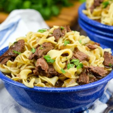 Beef and Noodles in a blue bowl