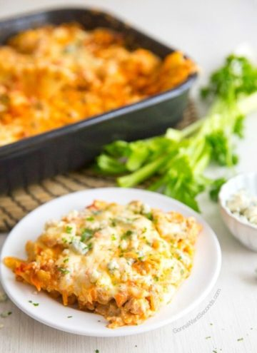 buffalo chicken lasagna on a plate