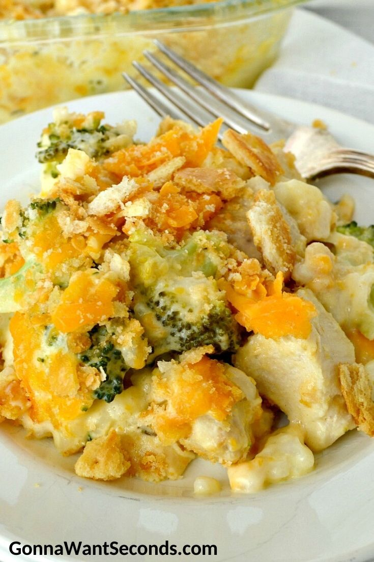 Chicken broccoli rice casserole on a plate with fork
