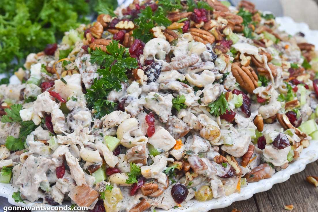 Macaroni Salad Recipes, Chicken Macaroni Salad on a white serving plate