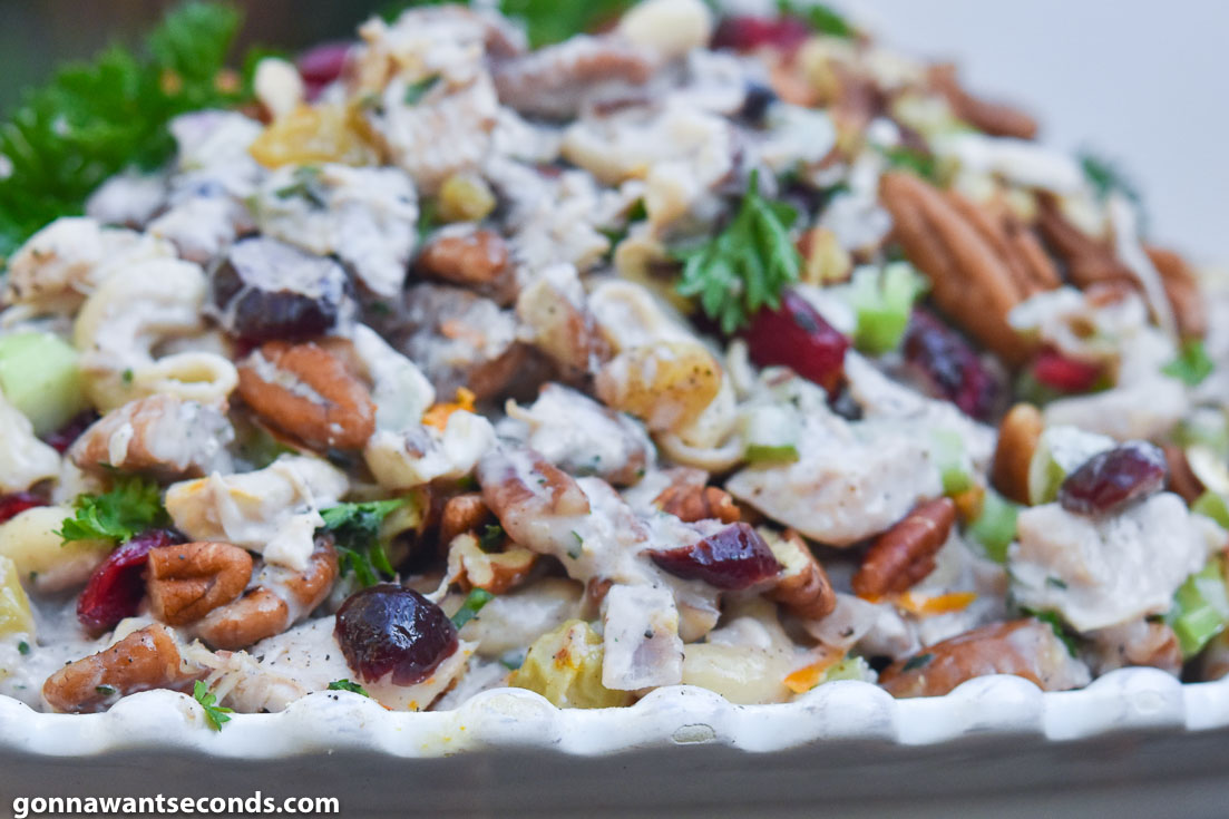 Chicken Macaroni Salad on a white serving plate