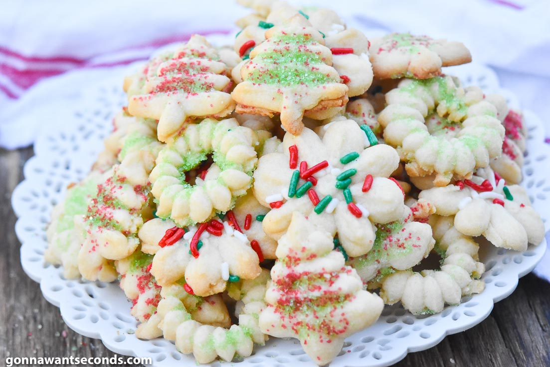 A pile of Spritz Cookies on a plate