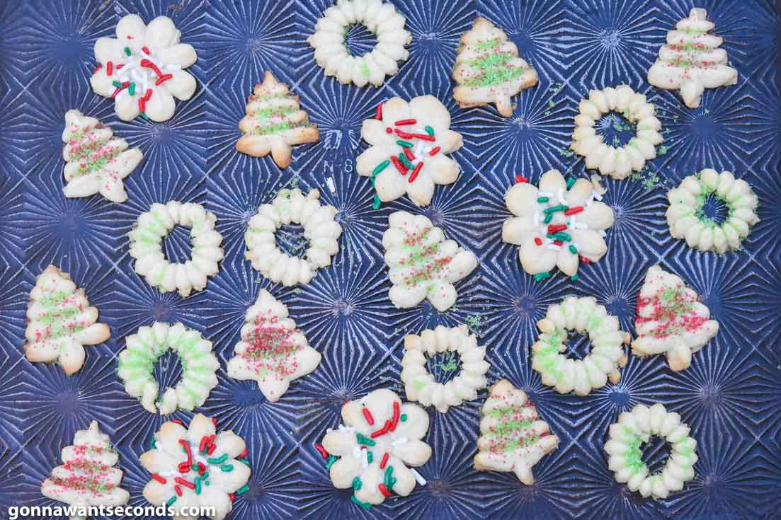 Spritz Cookies on a baking sheet