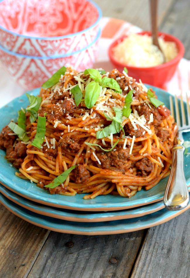 Crock Pot Spaghetti on a blue plate
