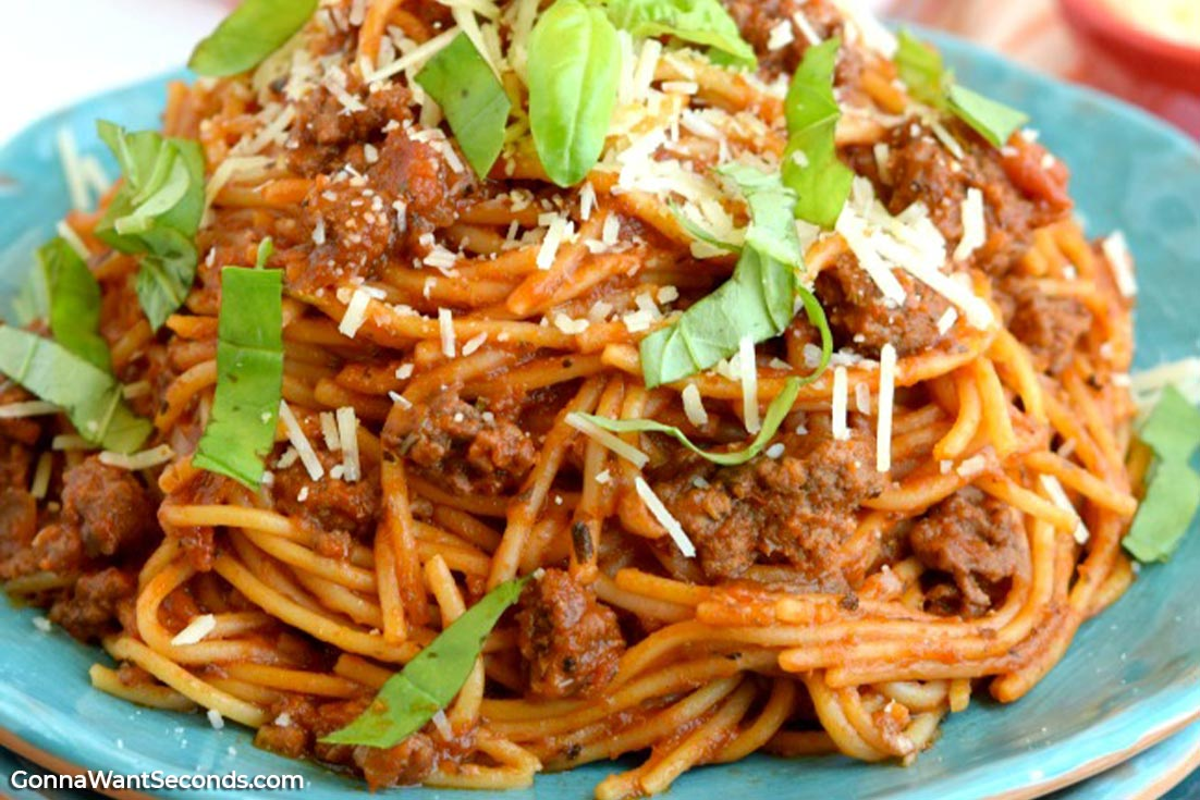 Crock Pot Spaghetti on a blue plate