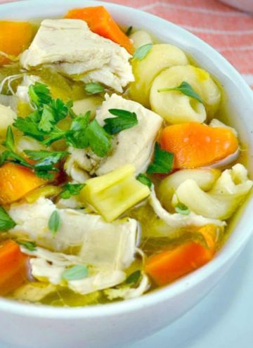 Crockpot Chicken Noodle Soup in a bowl