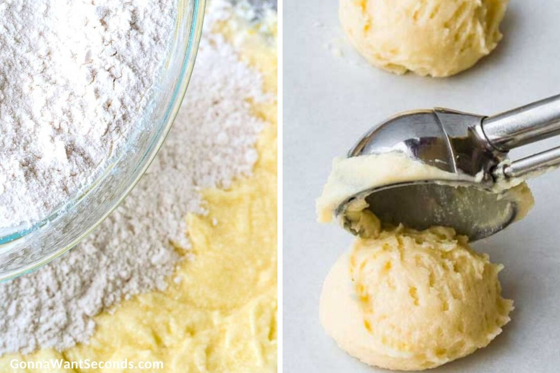 How to make Lemon Ricotta Cookies, mixing the flour mixture to the wet mixture, scooping it on the baking sheet