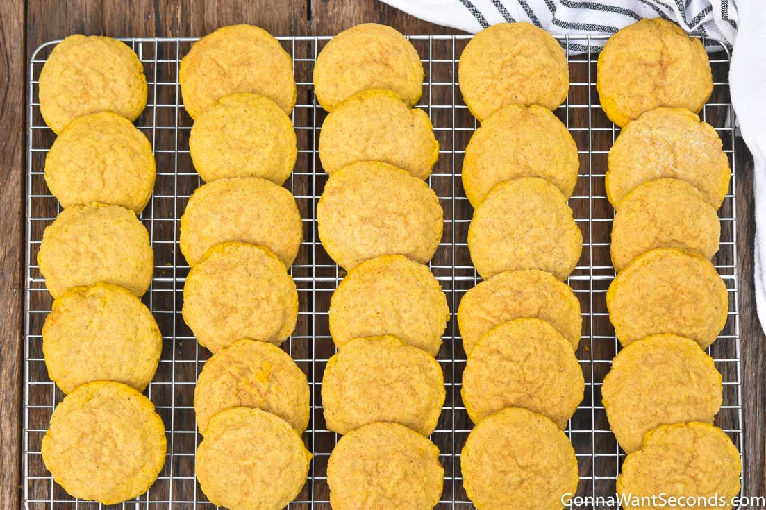 Pumpkin Sugar Cookies without frosting, on a wire rack