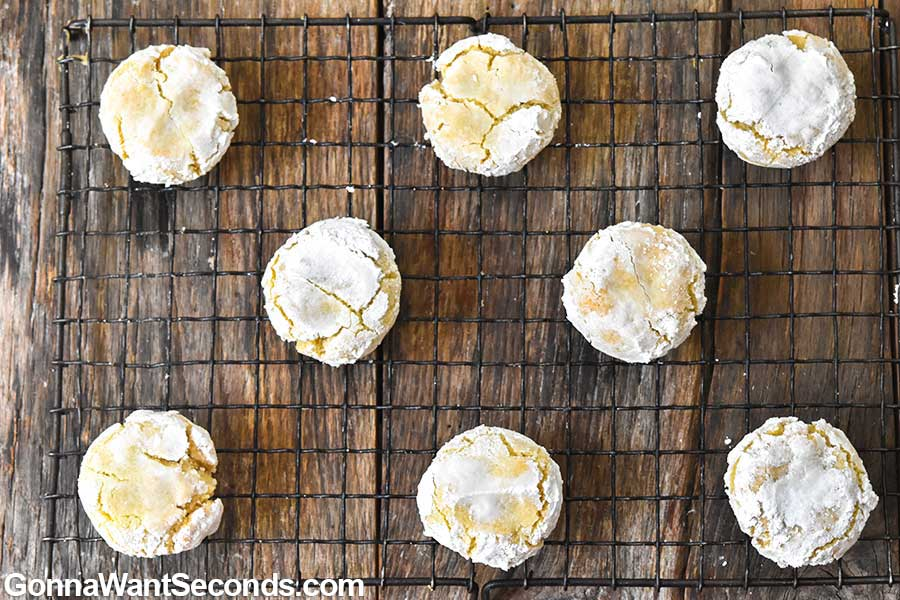 Amaretti cookies on a cooling rack
