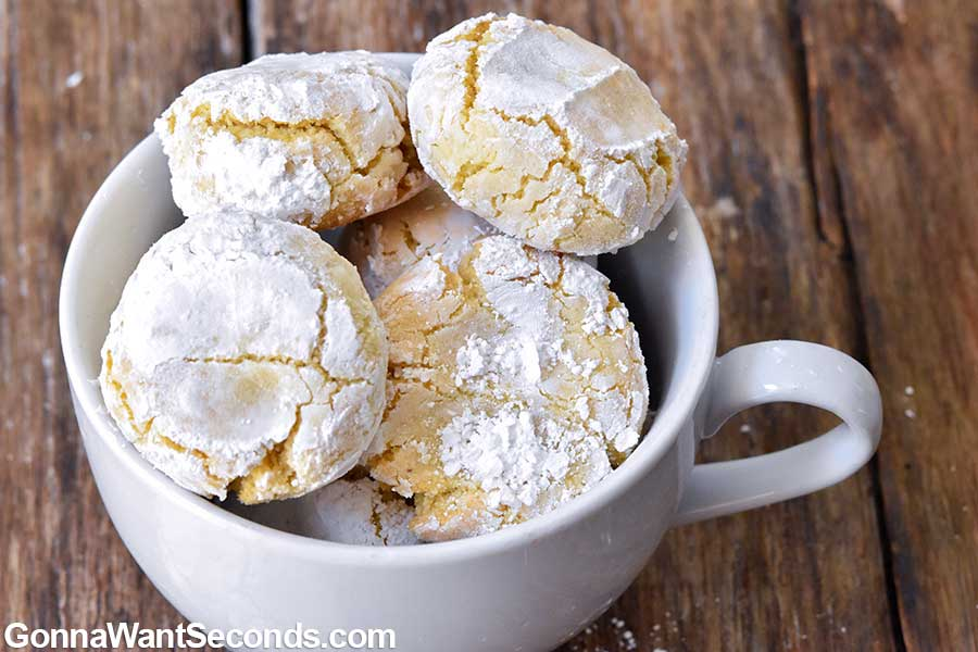 Amaretti cookies in a small coffee cup