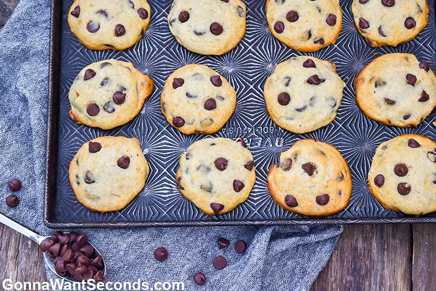 Banana chocolate chip cookies on a baking sheet
