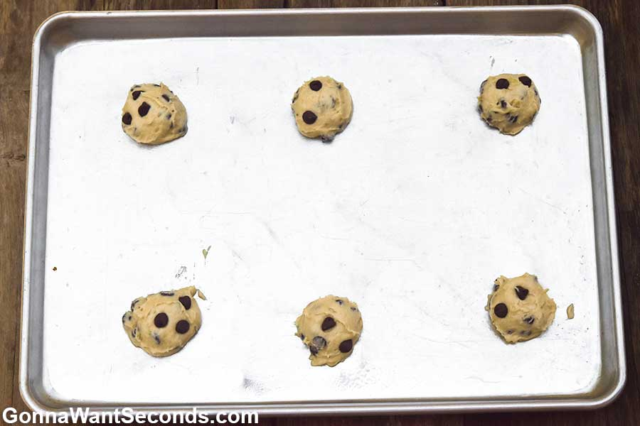 Banana chocolate chip cookies dough in a baking sheet