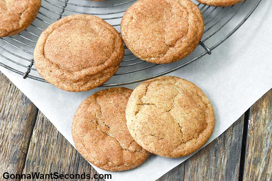 Cinnamon Sugar Cookies arranged in a cooling rack
