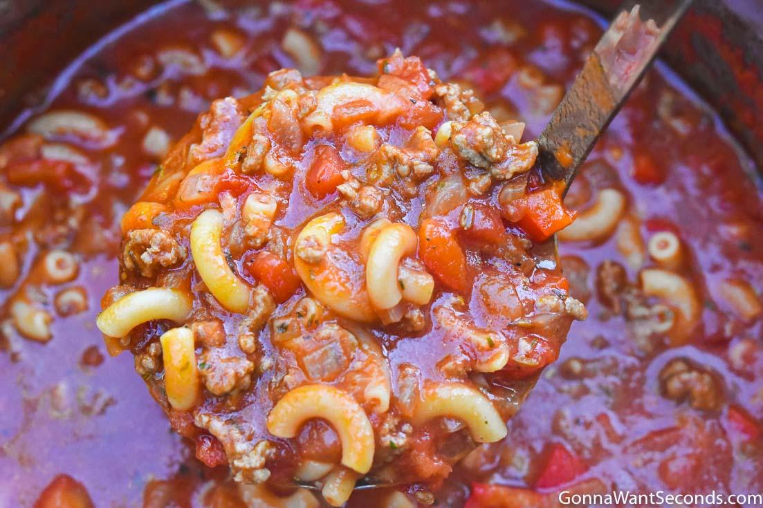 Ladle scooping Instant pot goulash