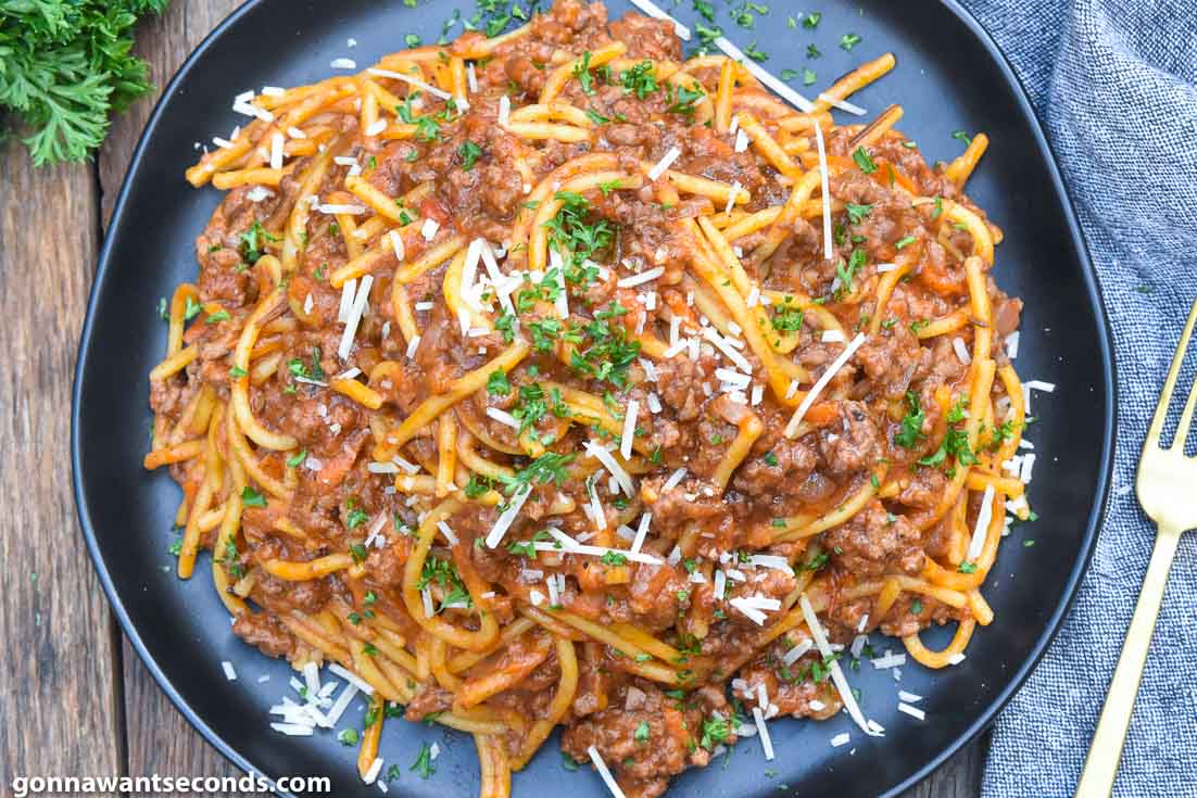Instant Pot Spaghetti on a plate