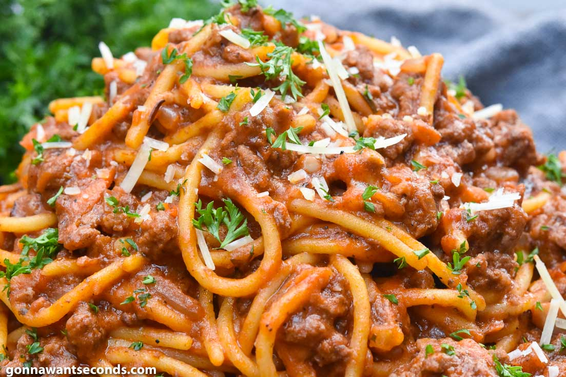 Spaghetti Recipes, Instant Pot Spaghetti on a plate