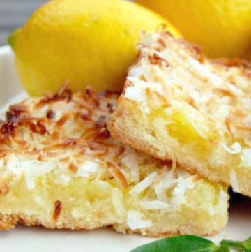 lemon coconut bars on a plate