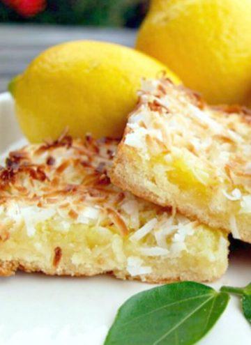 lemon coconut bars on a plate