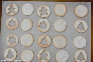 Baked Linzer cookies on a baking sheet