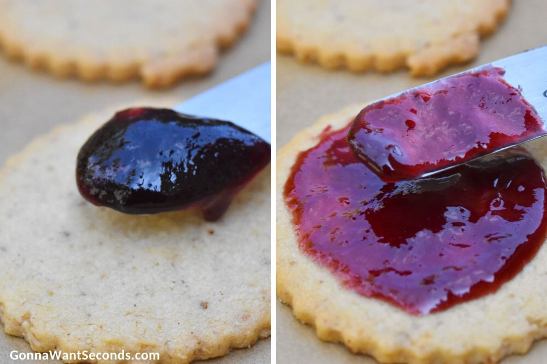 How to make Linzer cookies, spreading jam over cookie