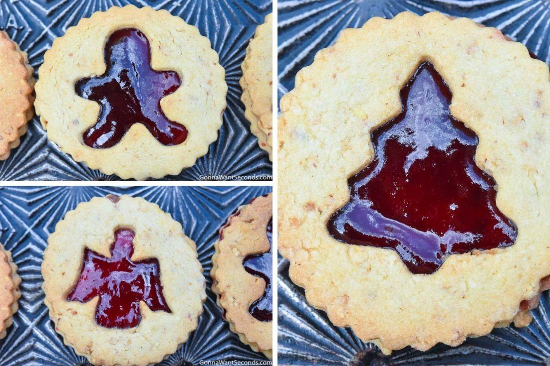Linzer cookies on a baking sheet