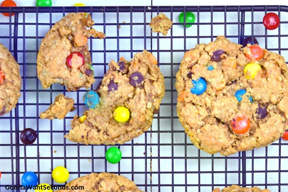 Monster Cookies on a cooling rack