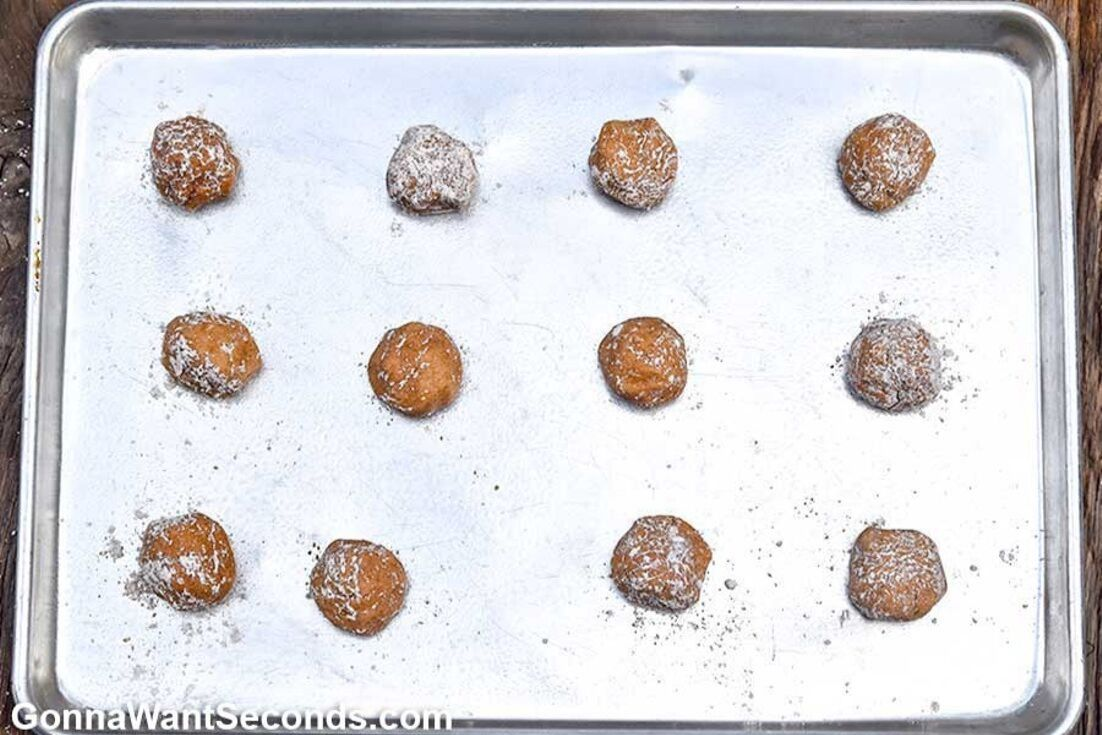 polvorones dough arranged on a baking sheet
