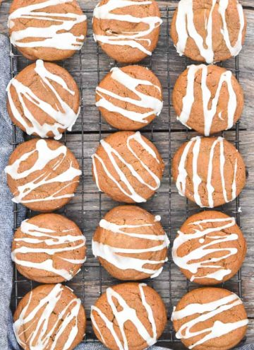 Soft Gingerbread Cookies arranged on a cooling rack