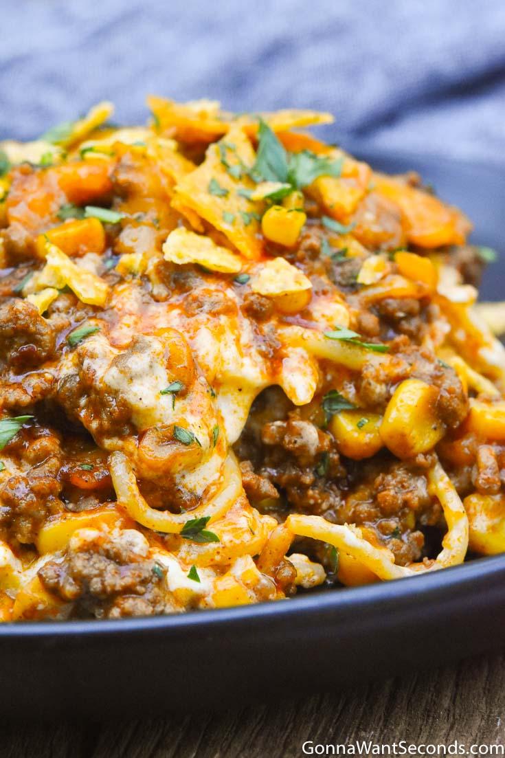 Taco Spaghetti on a plate