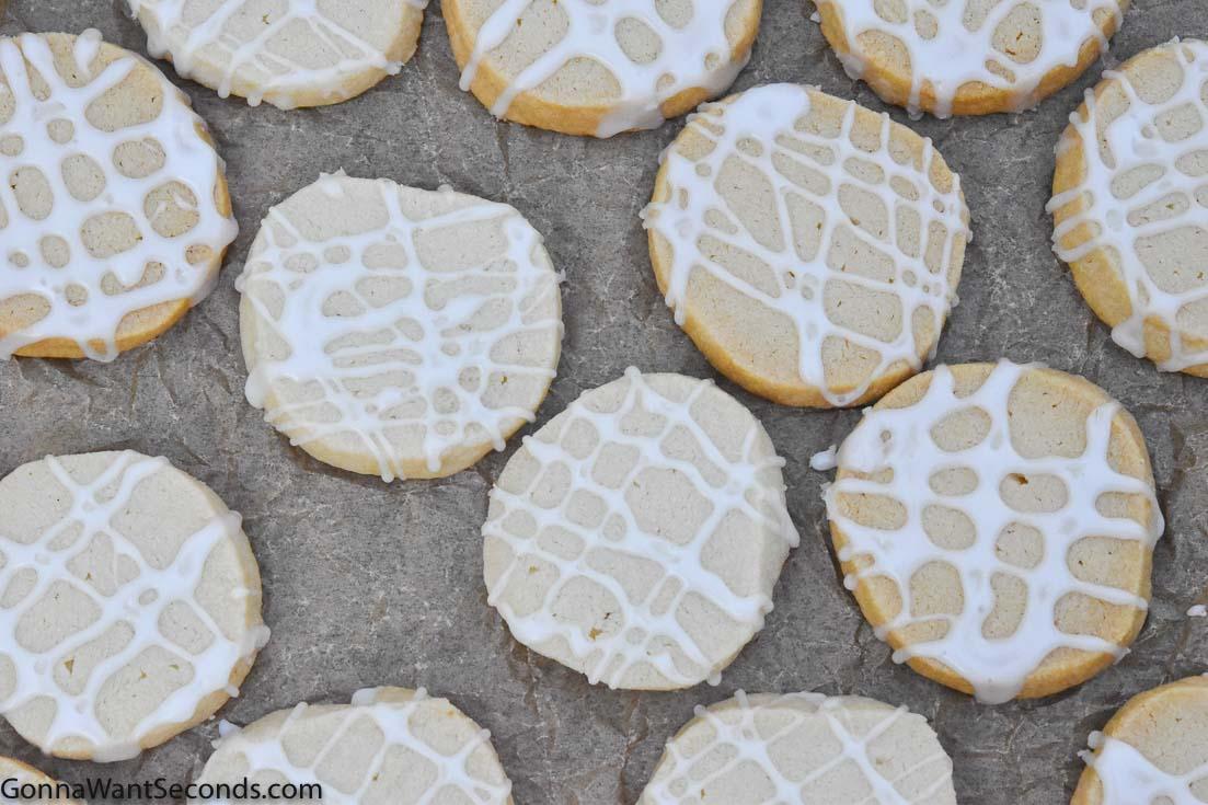 almond shortbread cookies on a baking sheet