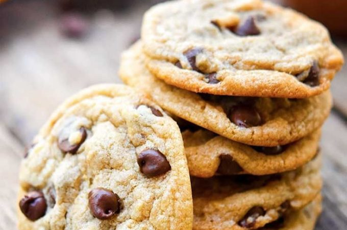 Alton Brown chocolate chip cookies piled on top of each other