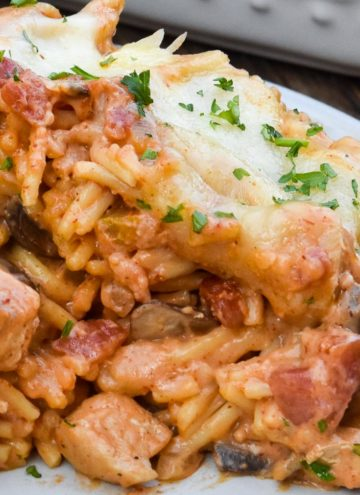 Chicken Spaghetti Bake on a plate