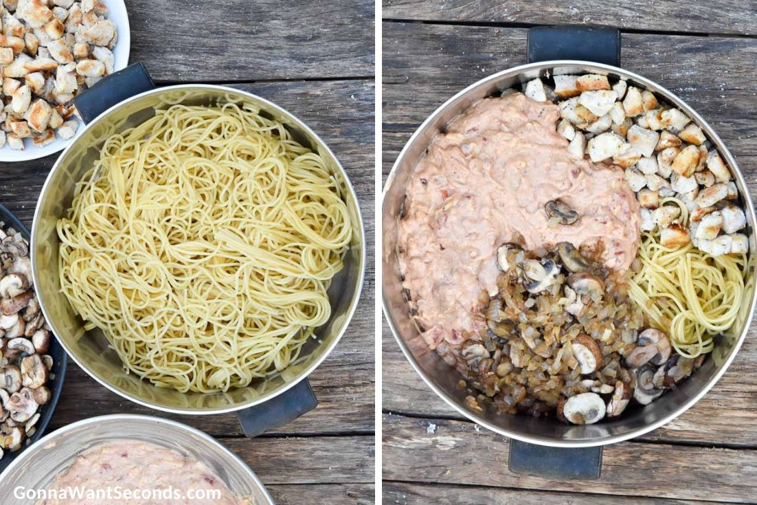 How to make Chicken Spaghetti Bake, combining pasta and other ingedients