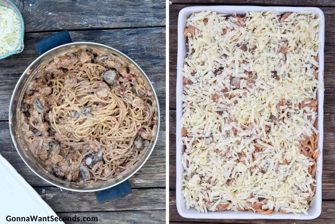How to make Chicken Spaghetti Bake, transfering ingredients to a casserole dish