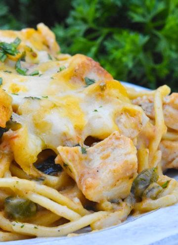 chicken spaghetti casserole on a plate