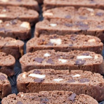 Chocolate Biscotti recipe arranged on a baking sheet