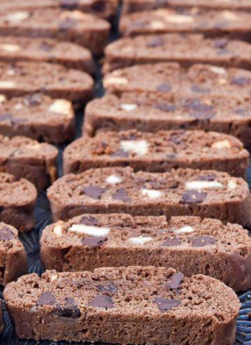 Chocolate Biscotti recipe arranged on a baking sheet