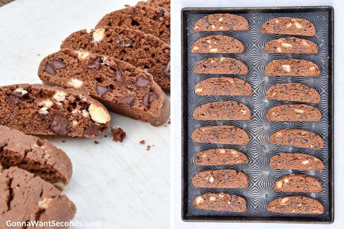 How to make Chocolate Biscotti recipe, baking the sliced cookies again