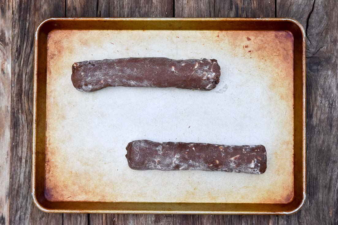 How to make Chocolate Biscotti recipe, 2 doughs on a baking sheet