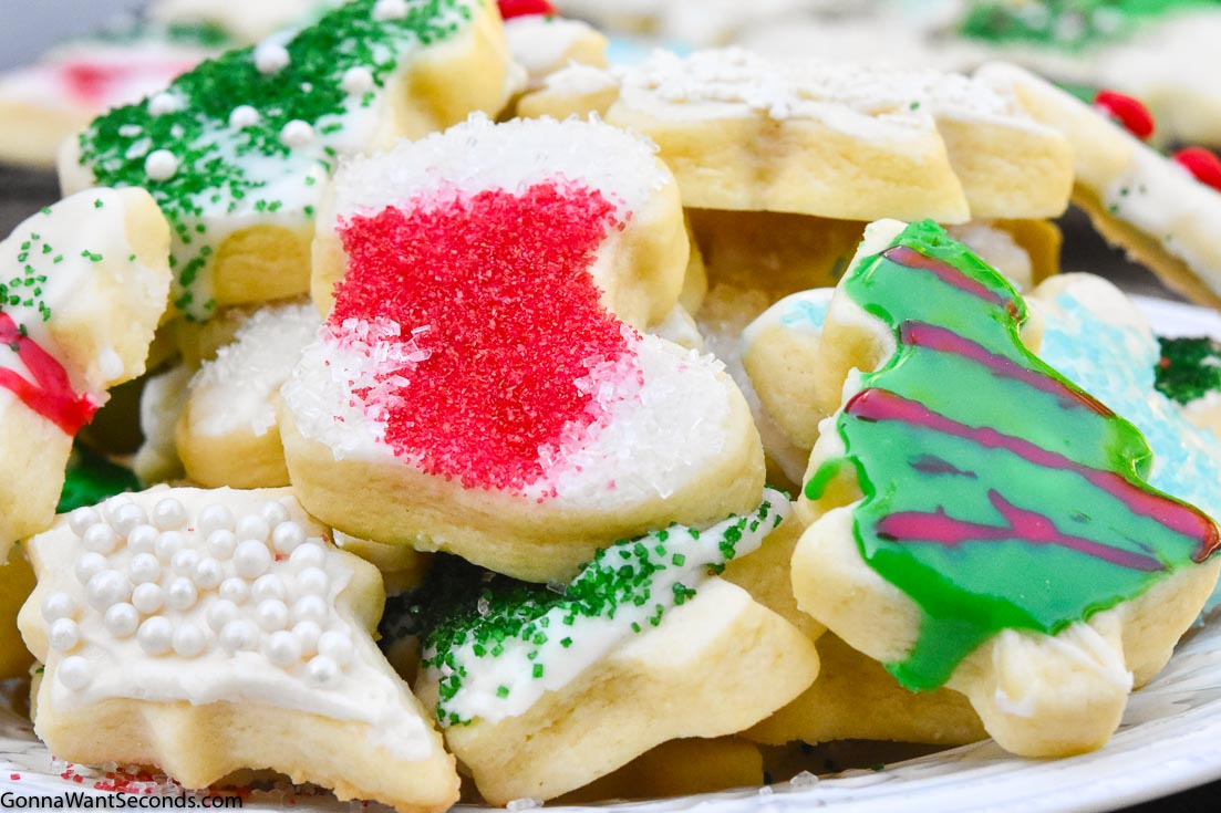 Christmas sugar cookies on a plate with icings and decoration